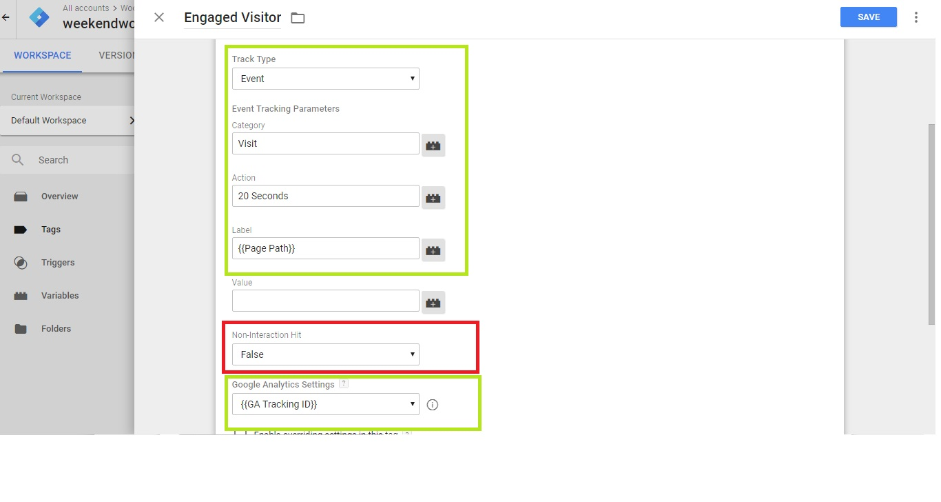 Configuring Event Tag - Fields