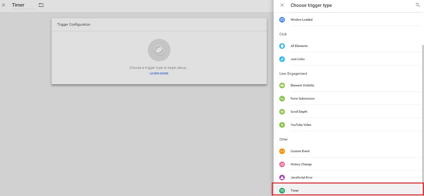 Configuring GTM Trigger - Trigger Type