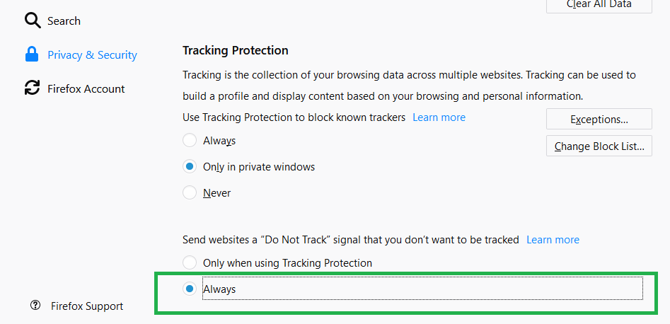 Prevent Privacy Tracking in FireFox Browser