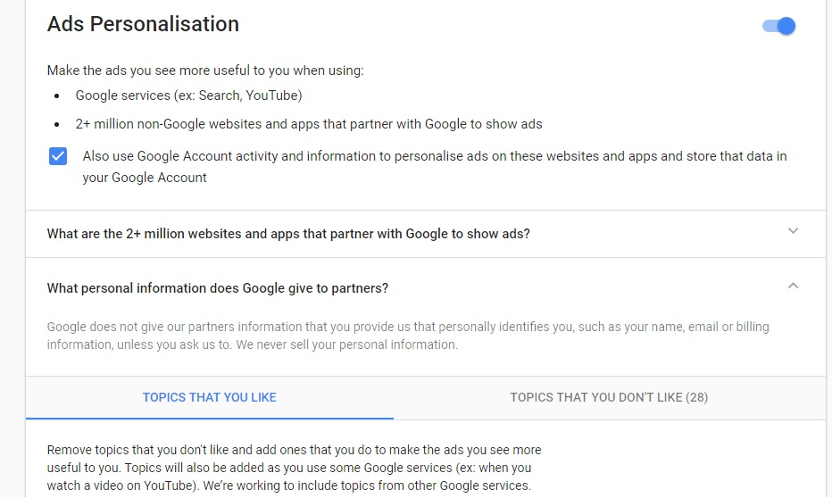 Ad Personalization and Topic Selection in Google