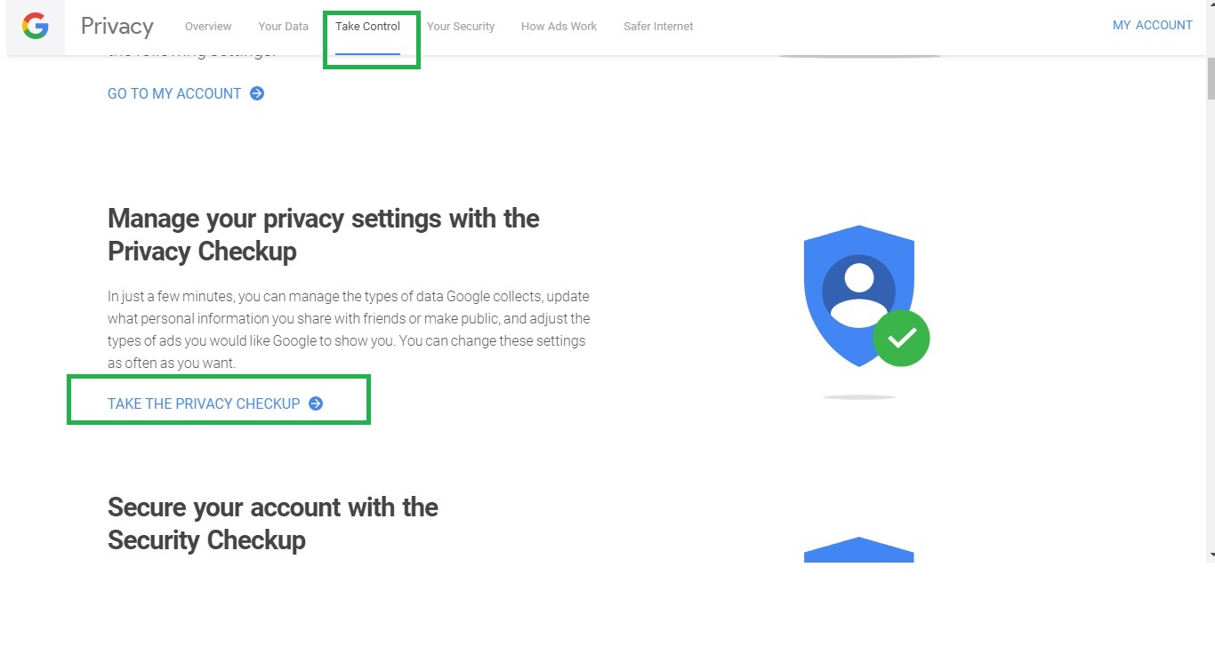 Going to Privacy Checkup in Google