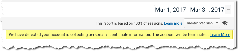 PII Warning in Google Analytics