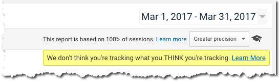 Tag Correctness Warning in Google Analytics