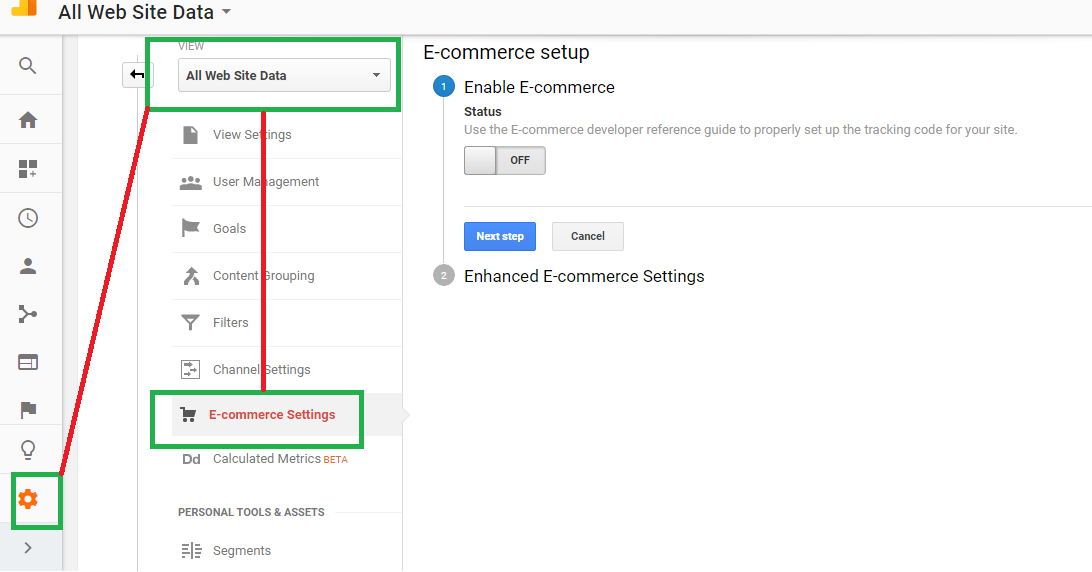 Turning on Enhanced E-commerce Reporting in Google Analytics
